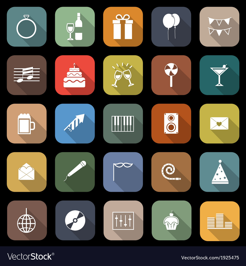 Celebration flat icons with long shadow vector   Price: 1 Credit (USD $1)