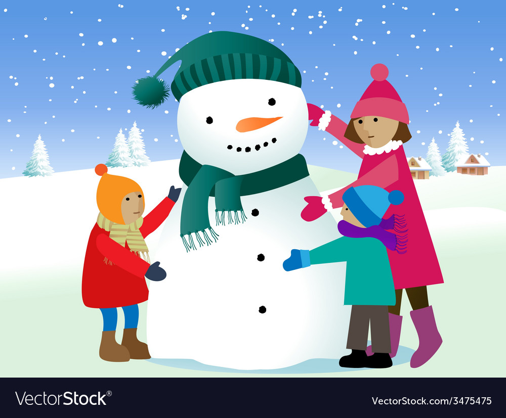 Children and snowman vector | Price: 1 Credit (USD $1)