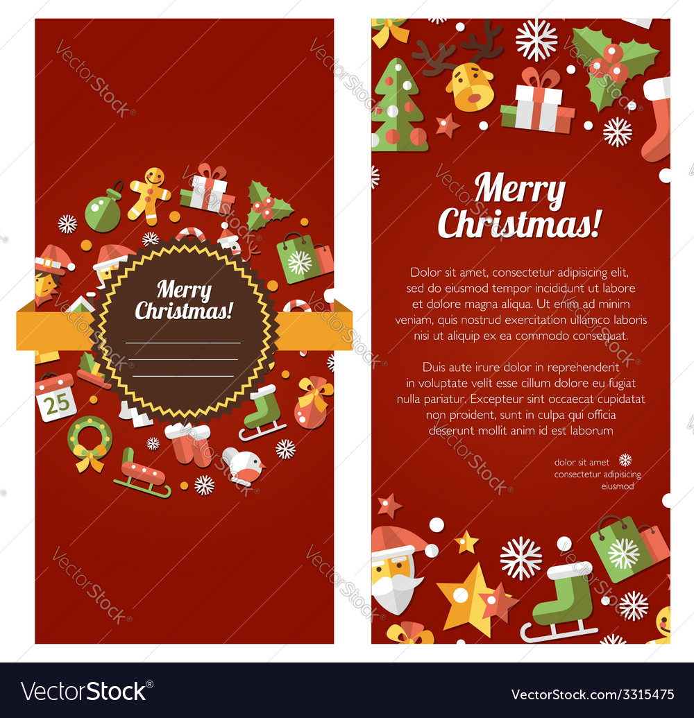 Christmas and happy new year flat design invitat vector | Price: 1 Credit (USD $1)