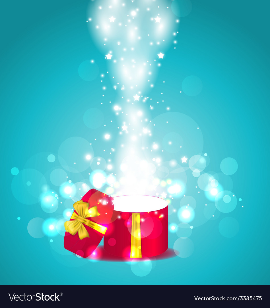 Christmas glowing background with open round gift vector | Price: 3 Credit (USD $3)