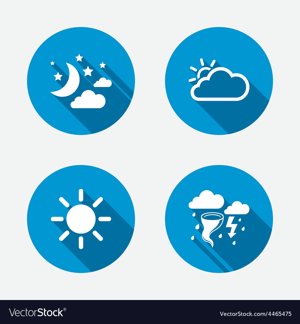 Cloud and sun icon storm symbol moon and stars vector | Price: 1 Credit (USD $1)