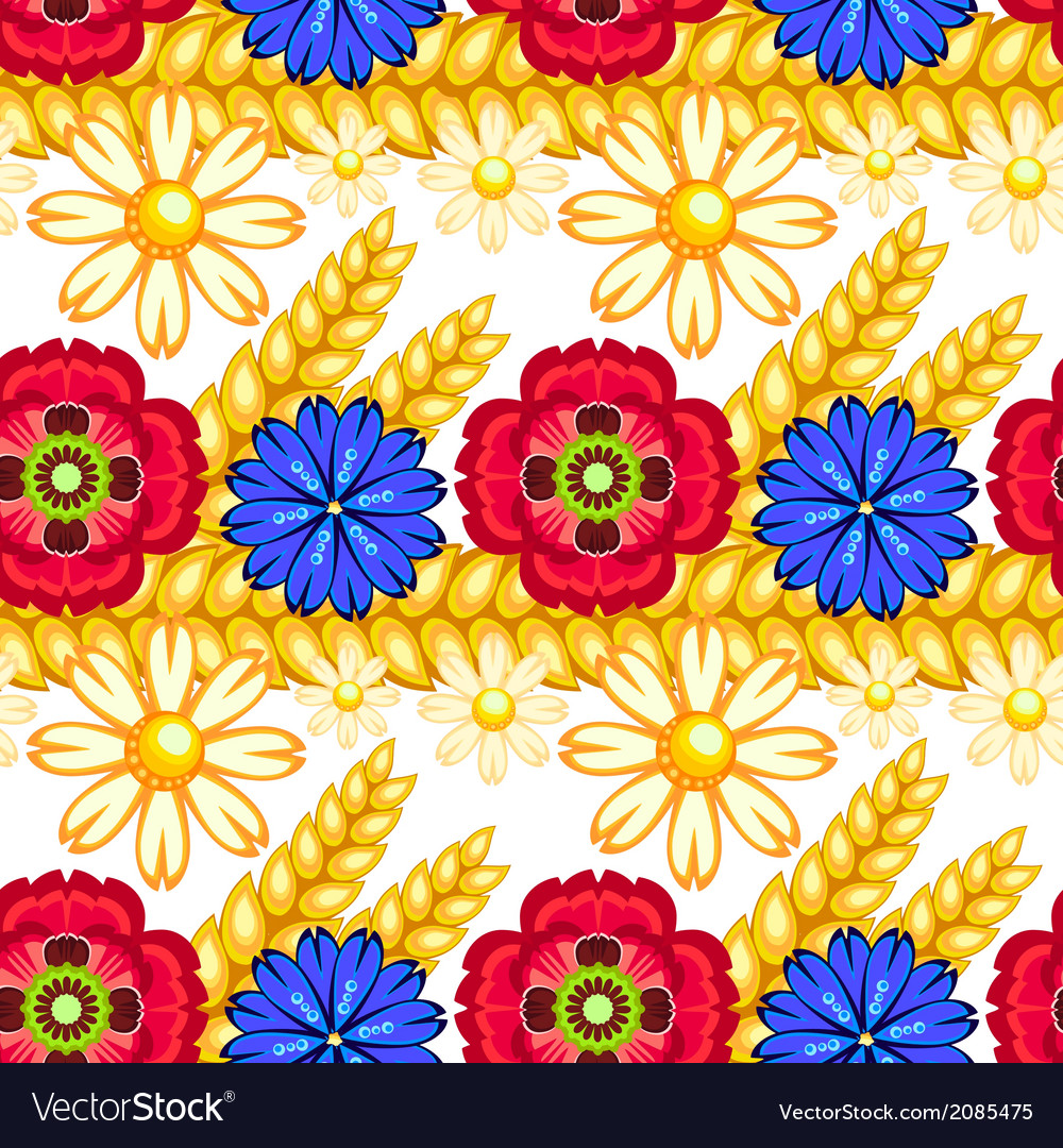 Cornflower camomile and poppy seamless pattern vector | Price: 1 Credit (USD $1)