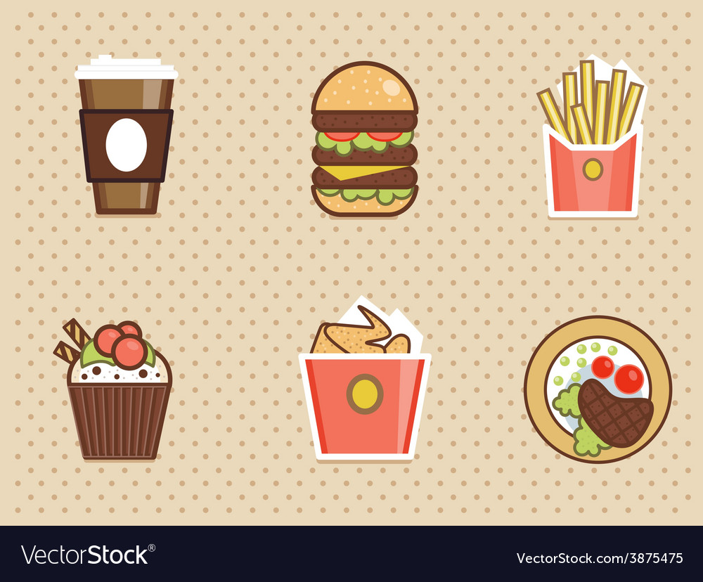 Fast food icons set high detailed color vector | Price: 1 Credit (USD $1)