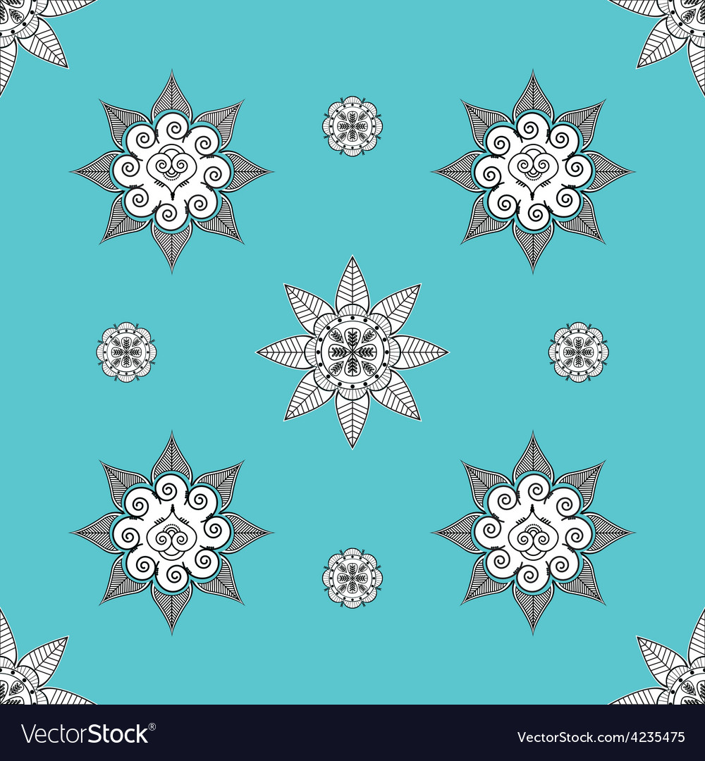 Folk inspired turquoise wallaper vector | Price: 1 Credit (USD $1)