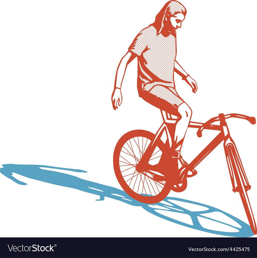 Girl cyclist vector | Price: 1 Credit (USD $1)