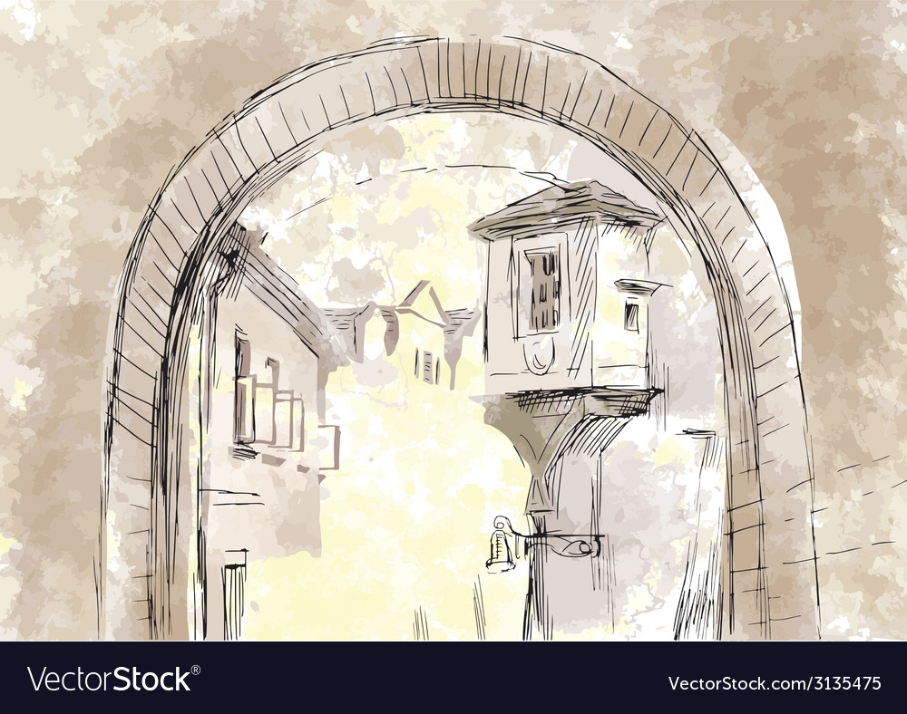 Passage between houses subway vector | Price: 1 Credit (USD $1)