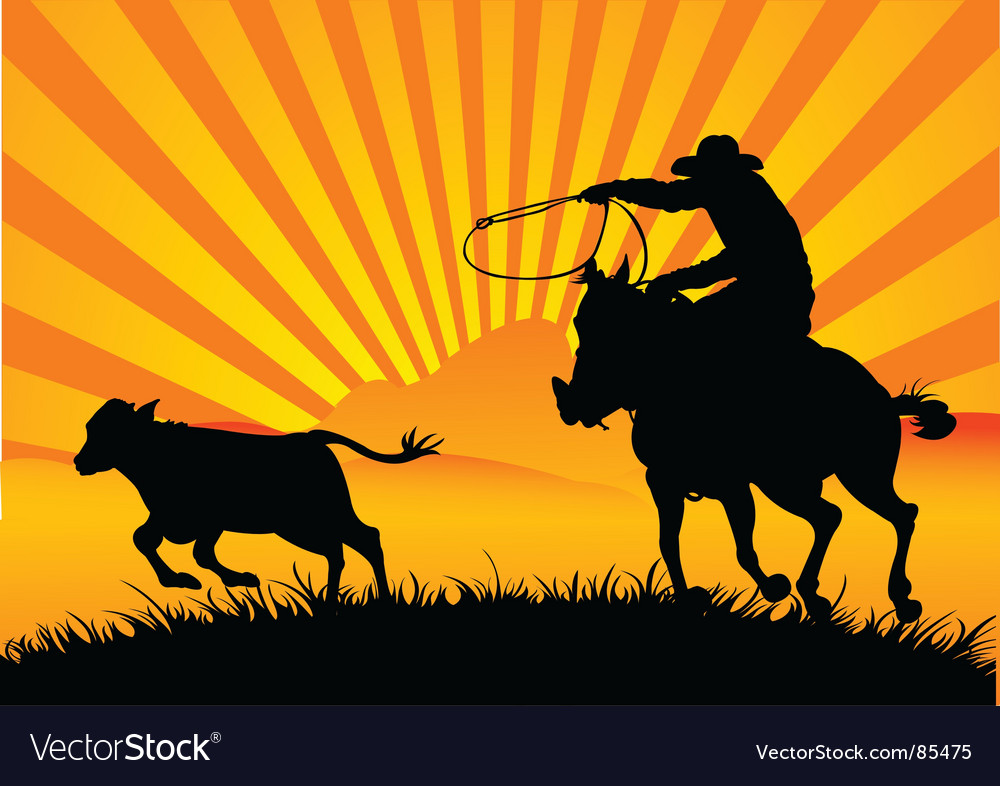Riding cowboy vector | Price: 1 Credit (USD $1)