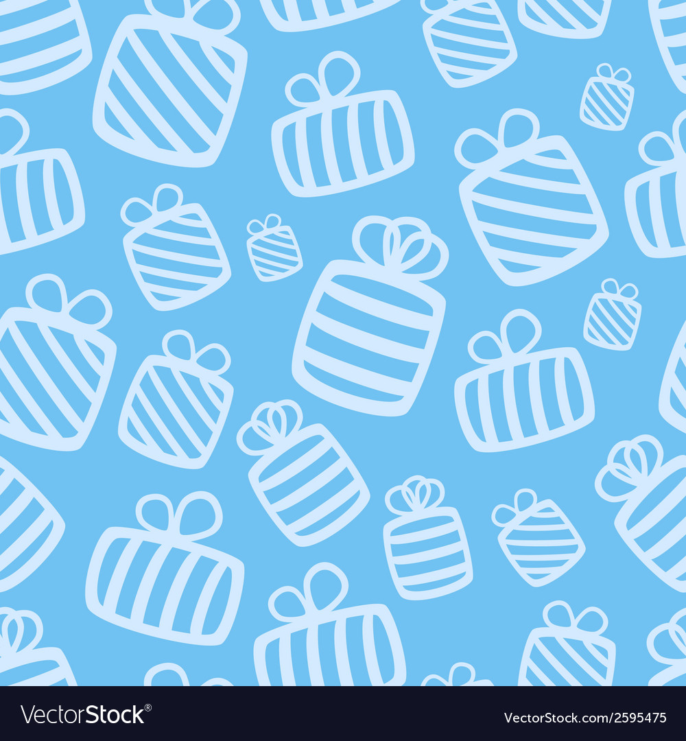 Seamless blue gift pattern vector | Price: 1 Credit (USD $1)