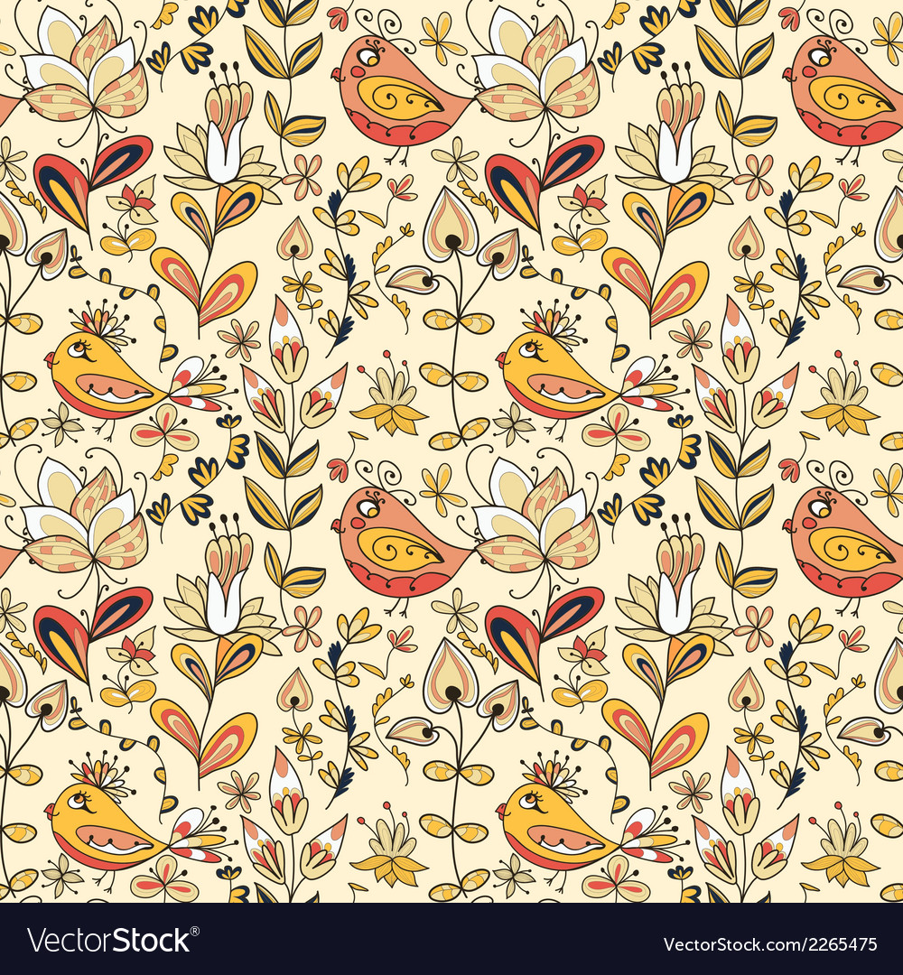 Seamless texture with flowers and birds vector | Price: 1 Credit (USD $1)