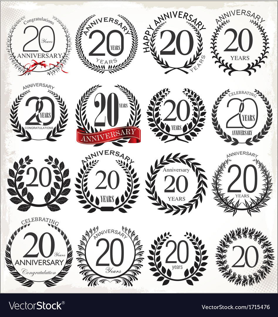 20 years anniversary laurel wreaths vector | Price: 1 Credit (USD $1)