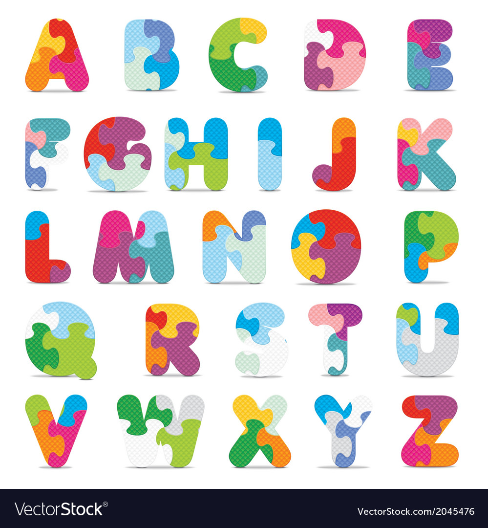 Alphabet written with puzzle vector | Price: 1 Credit (USD $1)