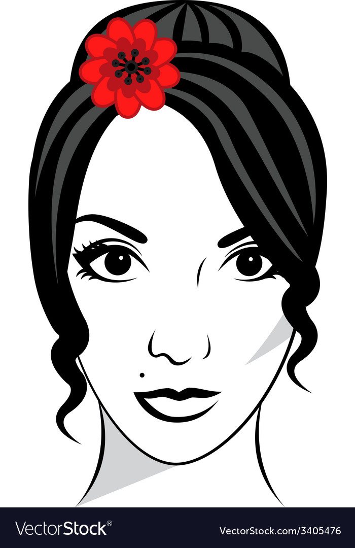 Beautiful female face vector | Price: 1 Credit (USD $1)