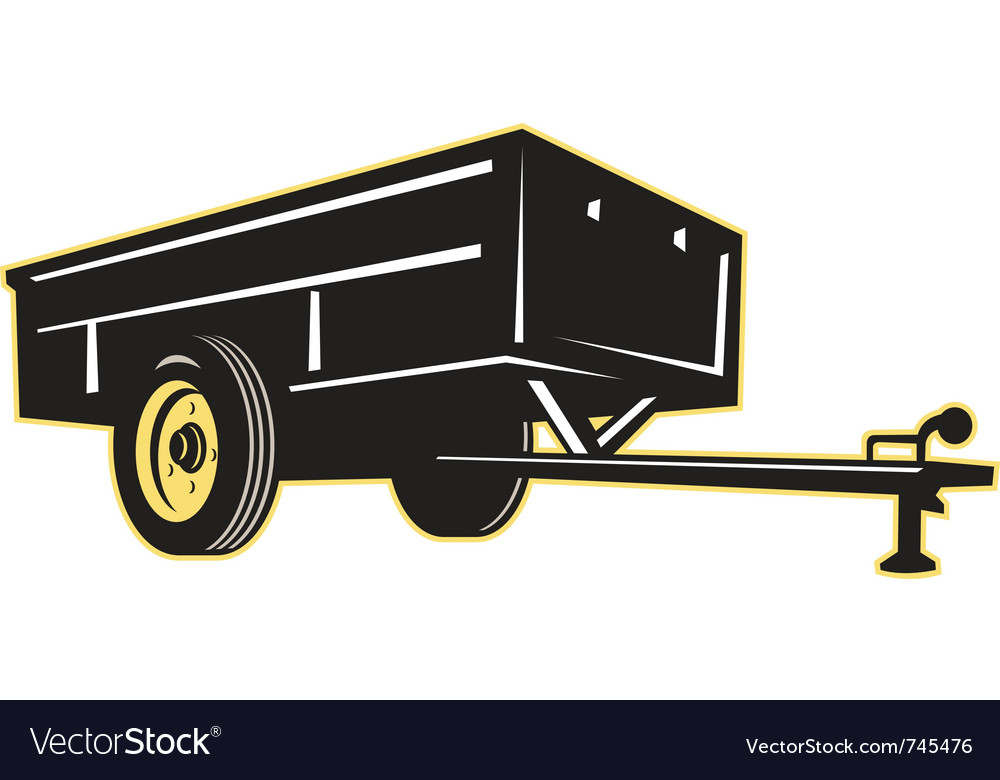 Car garden lawn utility trailer side vector | Price: 1 Credit (USD $1)