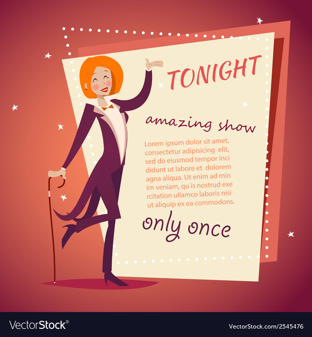 Circus show host lady girl in suit with cane icon vector | Price: 1 Credit (USD $1)
