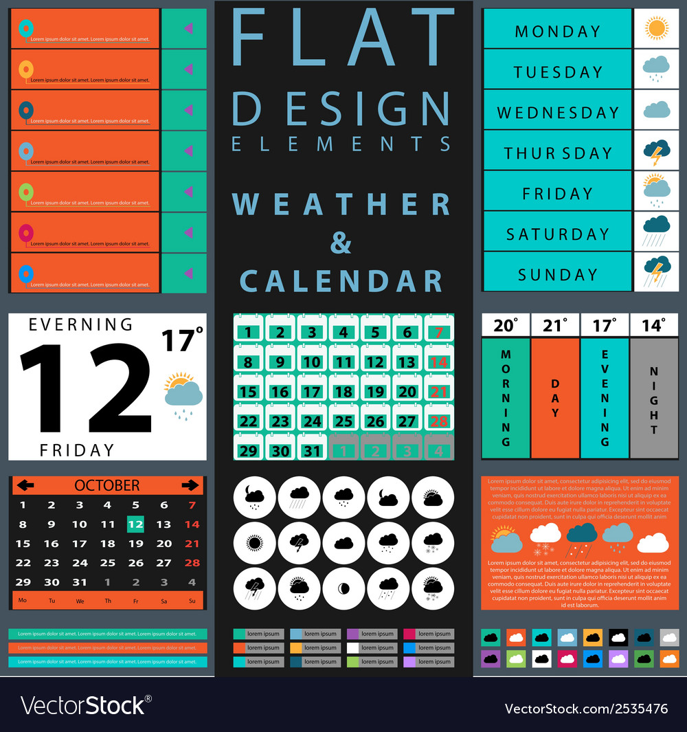 Components featuring design weather and calendar vector | Price: 1 Credit (USD $1)