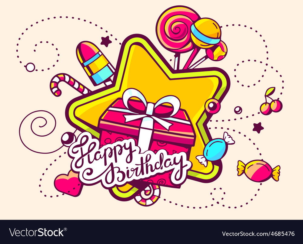 Gift box and confection with text happy b vector | Price: 3 Credit (USD $3)