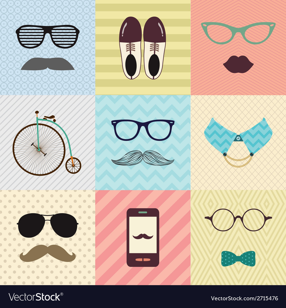 Hipster vintage cute fashion background vector | Price: 1 Credit (USD $1)