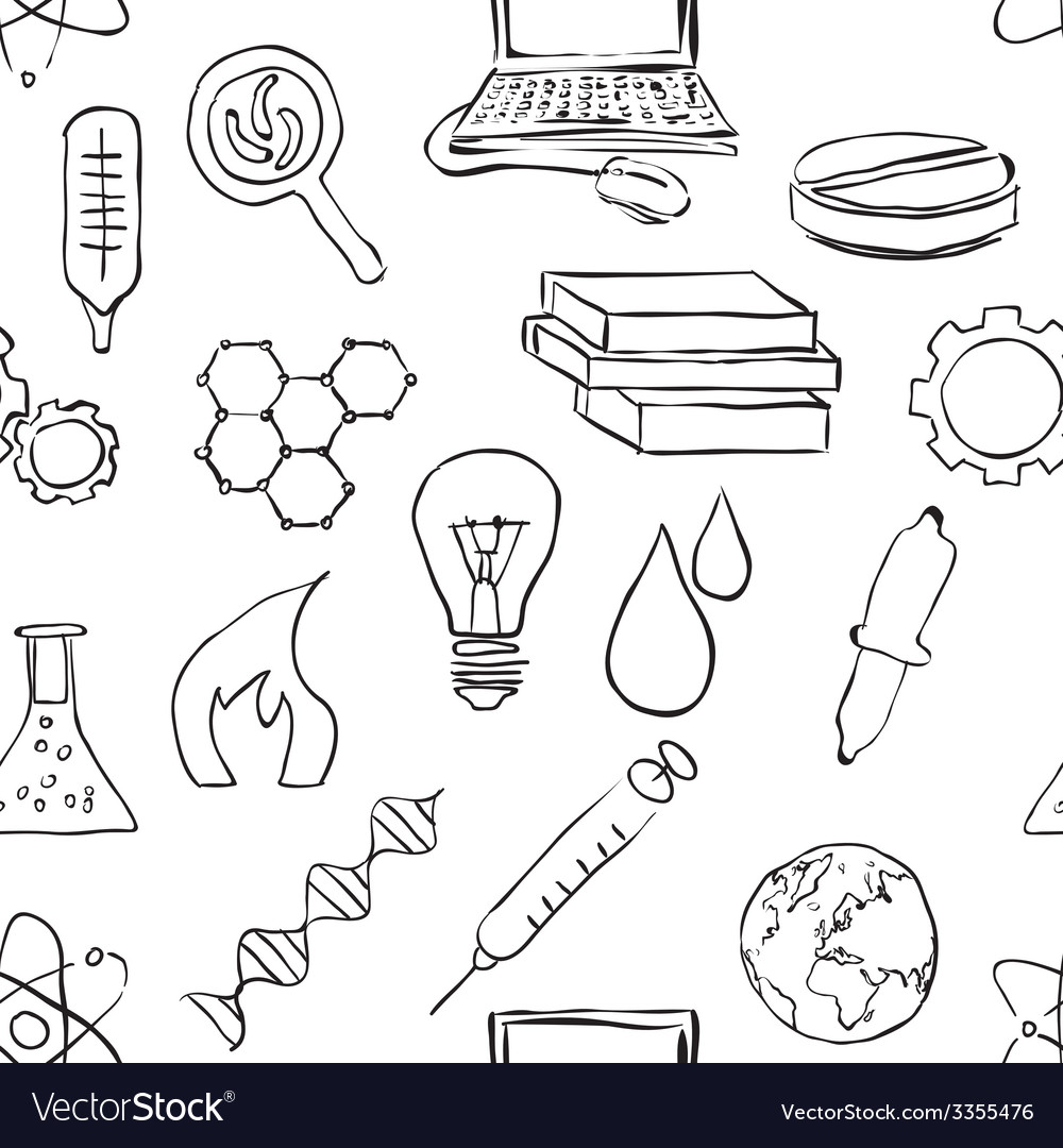 Seamless sketch science pattern vector | Price: 1 Credit (USD $1)