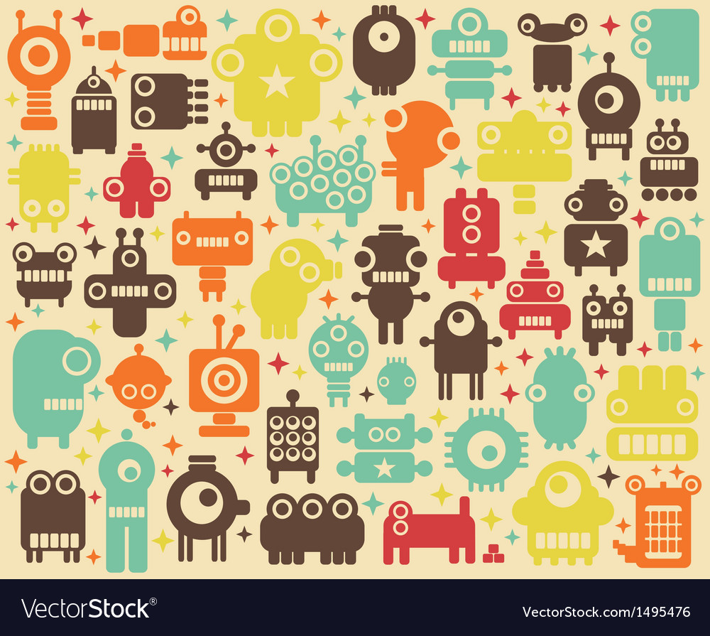 Space robots colorful background vector   Price: 1 Credit (USD $1)