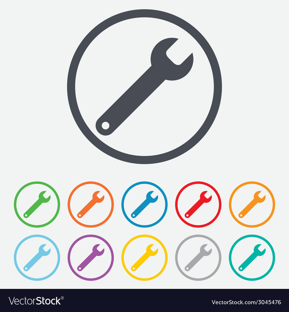 Wrench key sign icon service tool symbol vector | Price: 1 Credit (USD $1)
