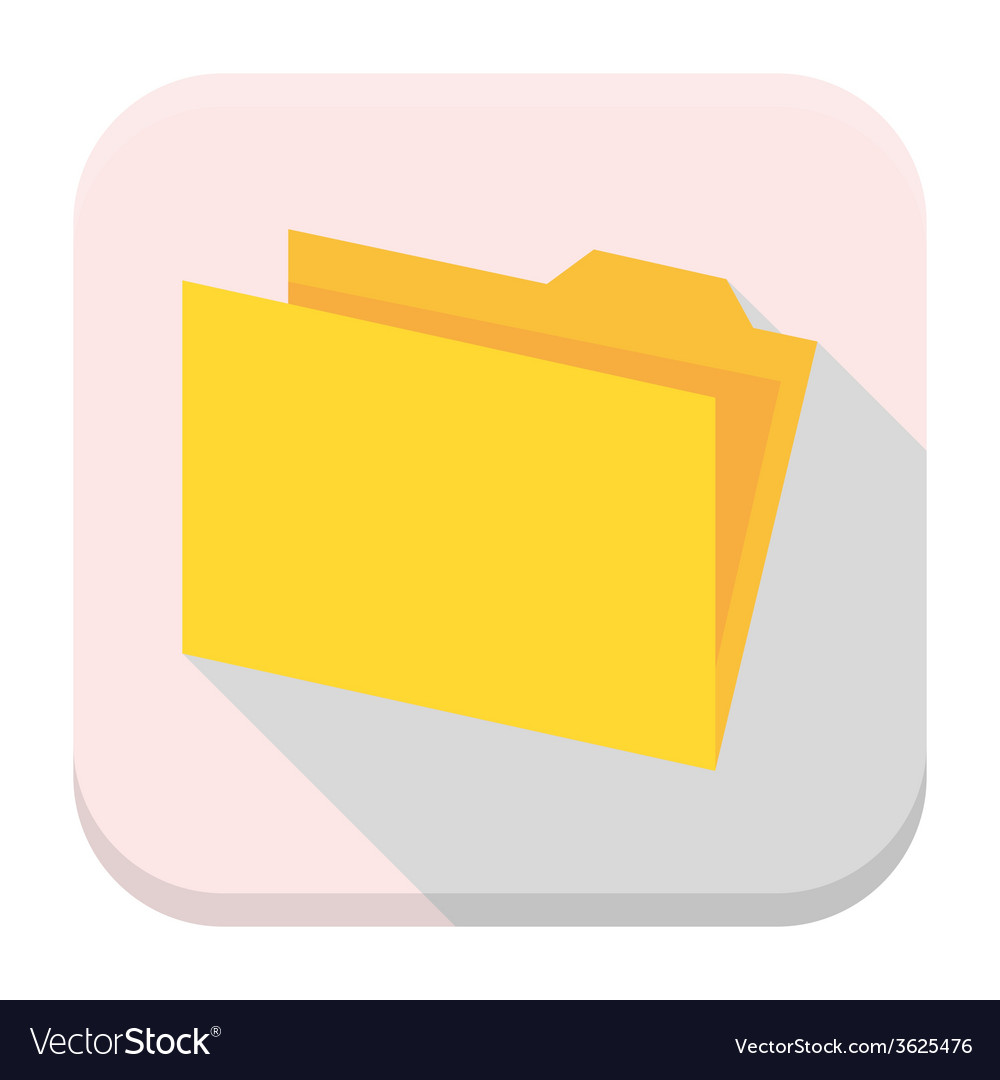 Yellow empty folder with paper flat app icon with vector | Price: 1 Credit (USD $1)