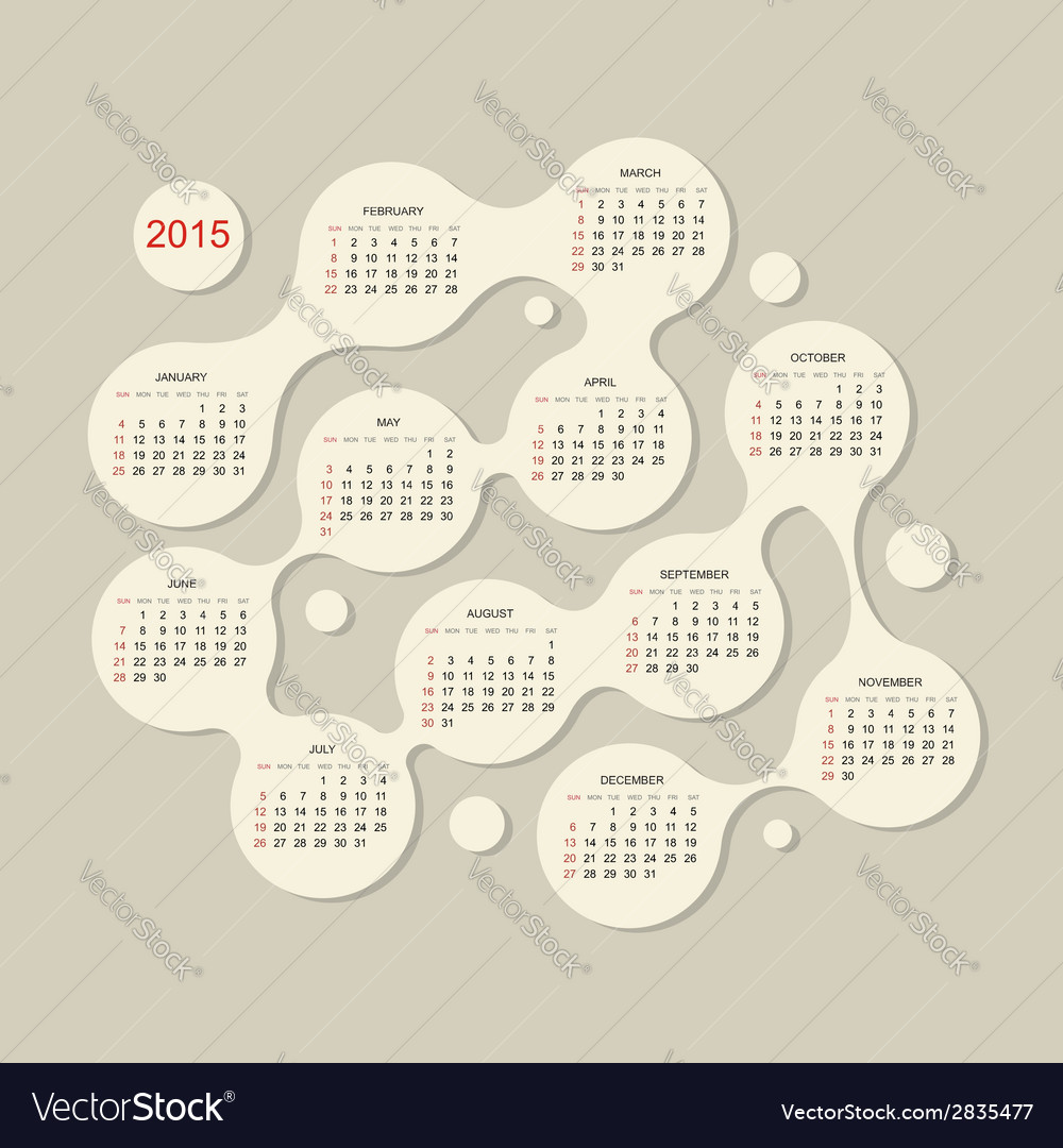 Calendar grid 2015 for your design vector | Price: 1 Credit (USD $1)
