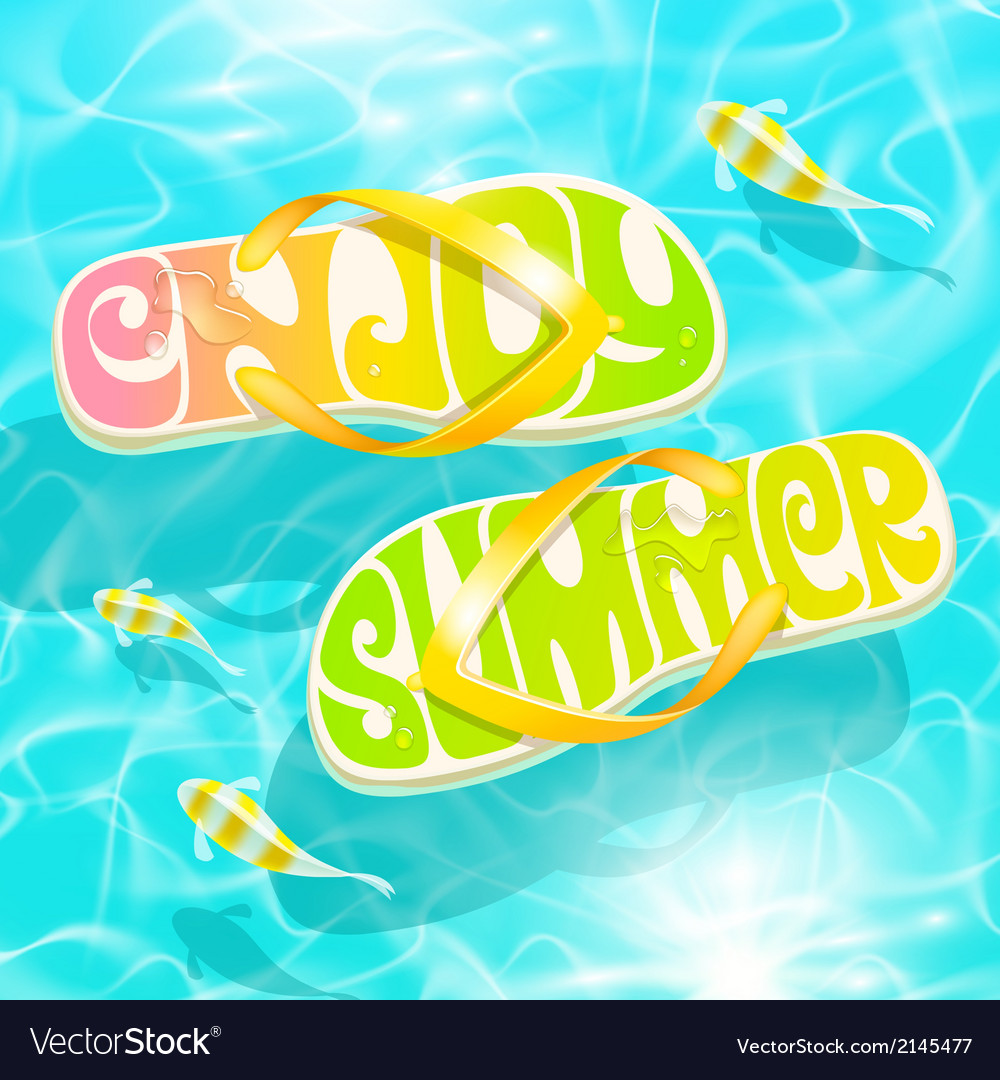Flip-flop with summer greeting floating on water vector | Price: 3 Credit (USD $3)