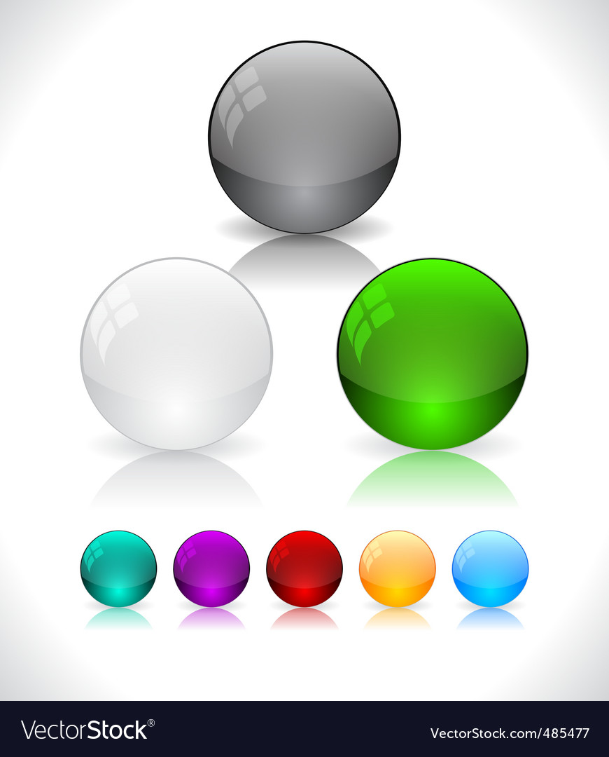 Glossy colorful abstract glass balls vector | Price: 1 Credit (USD $1)