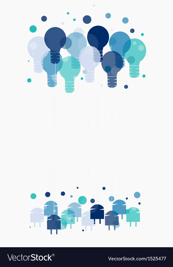 Idea concept of hanging blue light bulbs vector | Price: 1 Credit (USD $1)