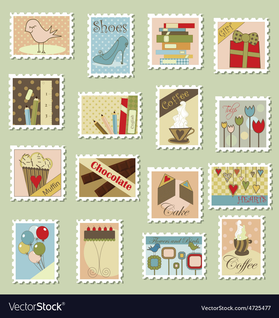 Large set of postage stamps vector | Price: 1 Credit (USD $1)