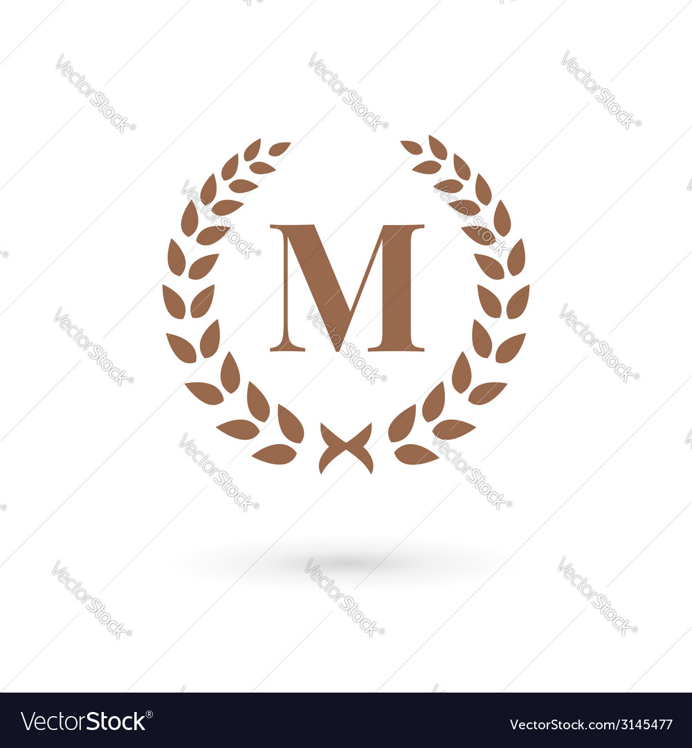 Letter m laurel wreath logo icon vector | Price: 1 Credit (USD $1)