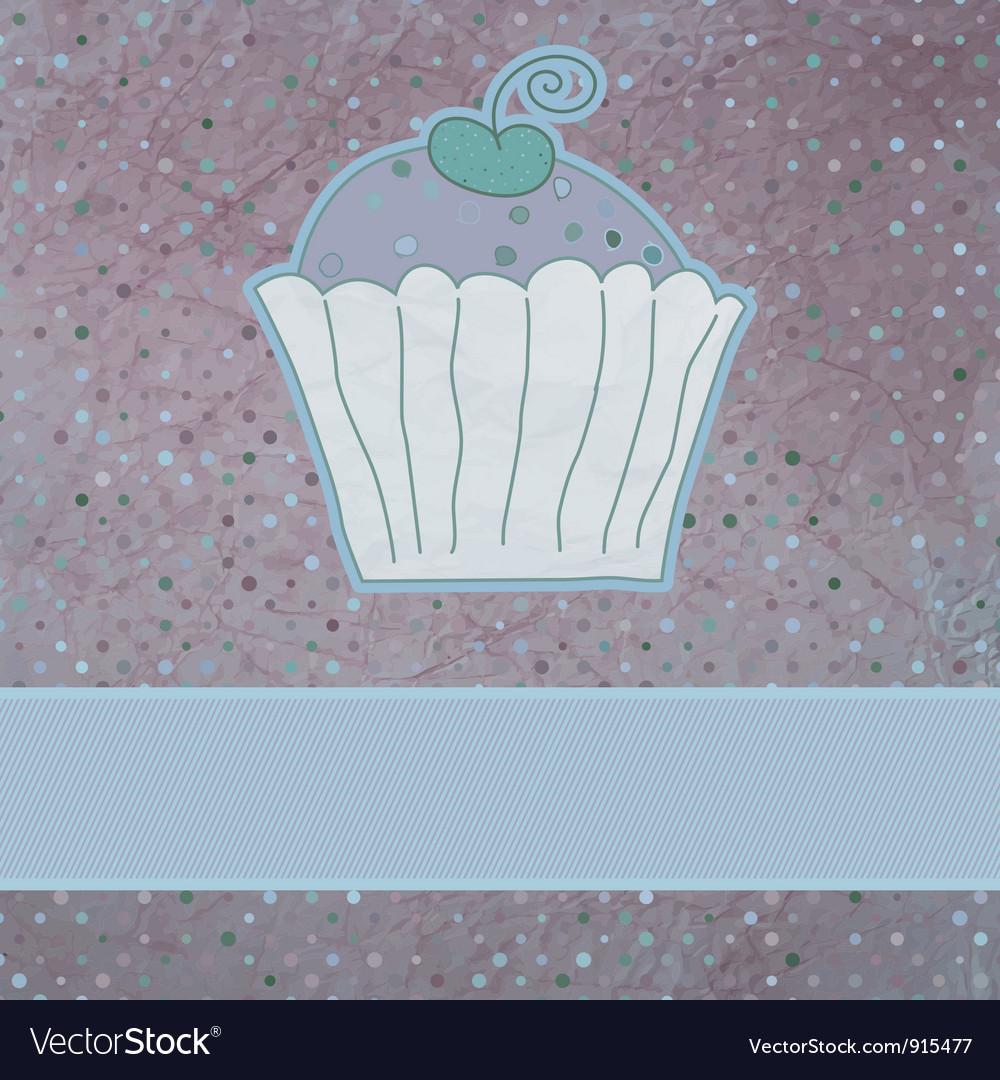 Retro card cupcake vector | Price: 1 Credit (USD $1)