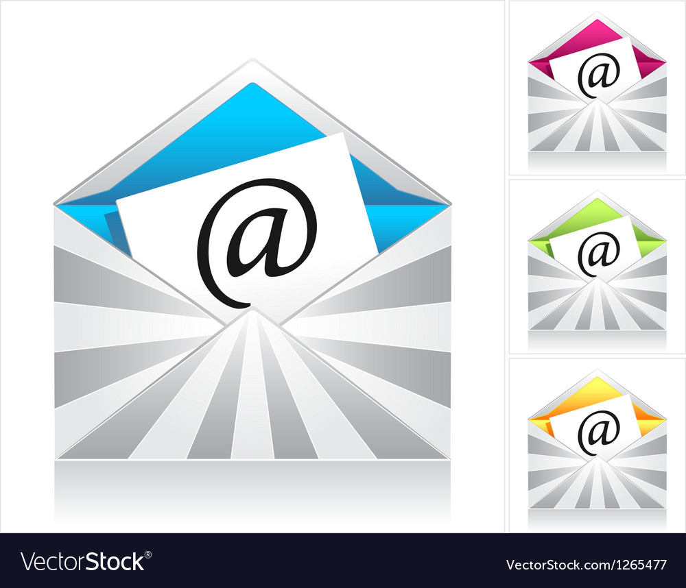 Set envelopes with silver rays and symbol email vector | Price: 1 Credit (USD $1)