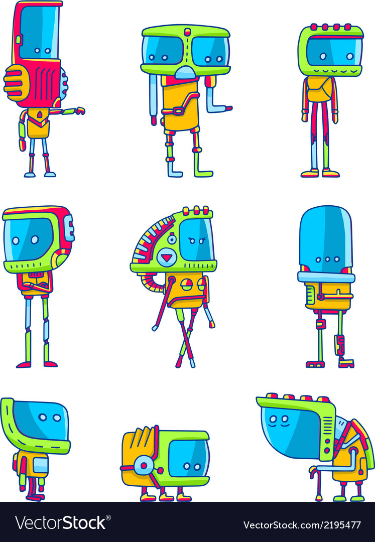 Set of funny robots vector | Price: 1 Credit (USD $1)