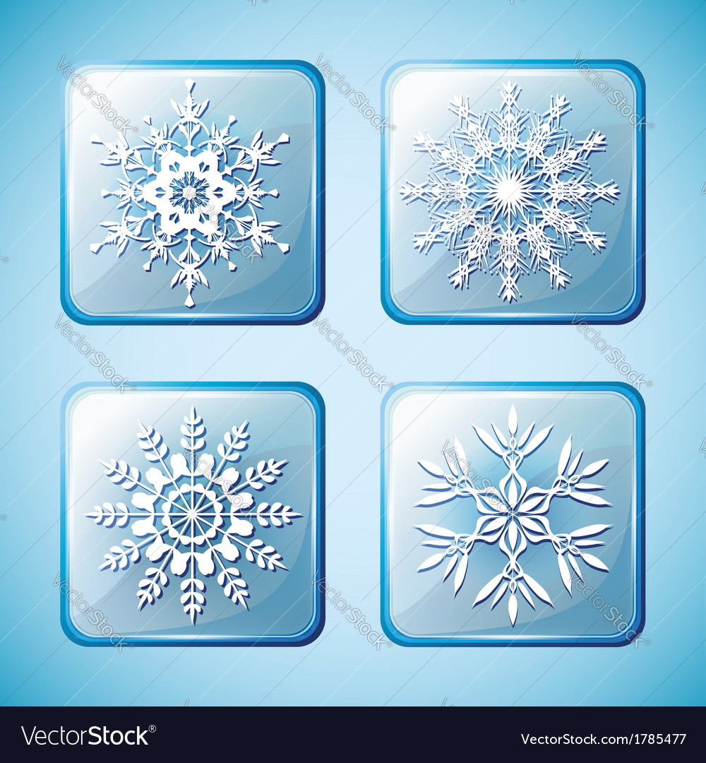 Set of winter icons with snowflakes vector | Price: 1 Credit (USD $1)