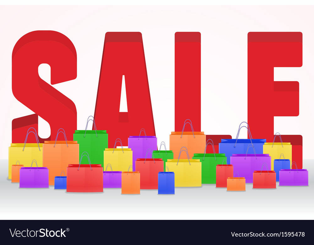 3d sale poster with shopping bags vector | Price: 1 Credit (USD $1)