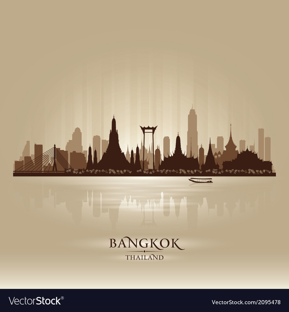 Bangkok thailand city skyline silhouette vector | Price: 1 Credit (USD $1)