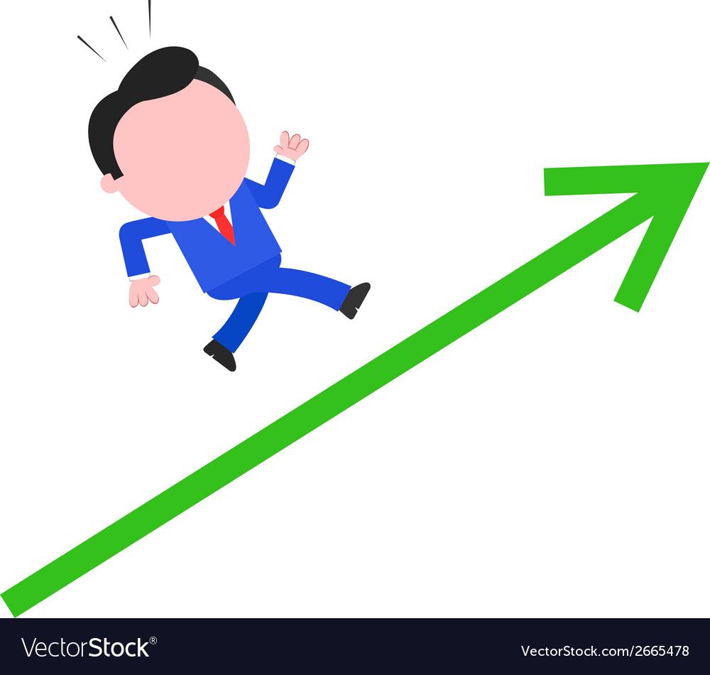 Businessman running up green arrow vector   Price: 1 Credit (USD $1)