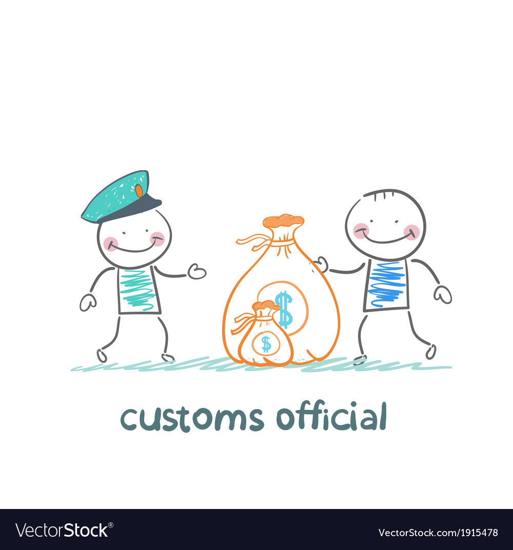 Customs officer takes money from the man vector | Price: 1 Credit (USD $1)