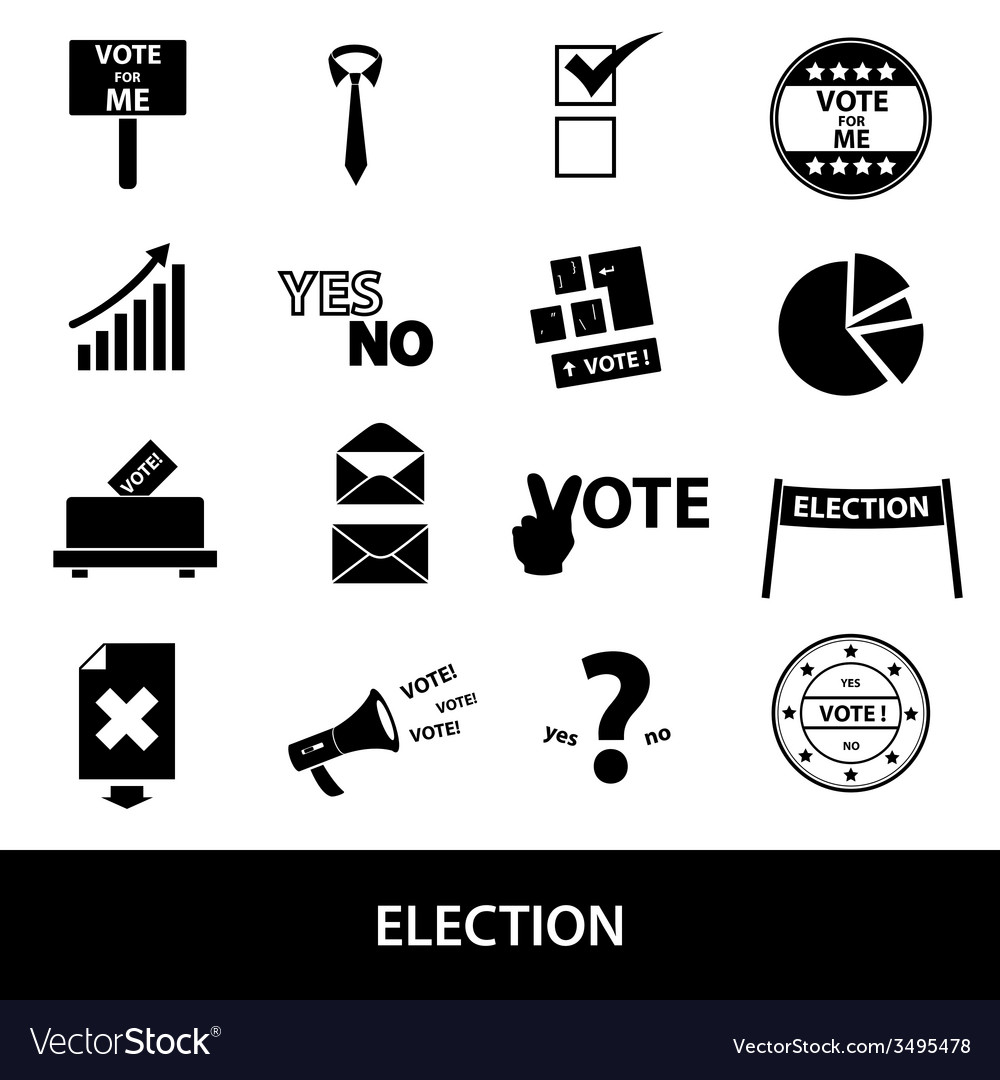 Election black simple icons set eps10 vector | Price: 1 Credit (USD $1)