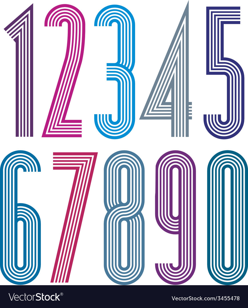 Geometric colorful numbers with straight lines vector | Price: 1 Credit (USD $1)
