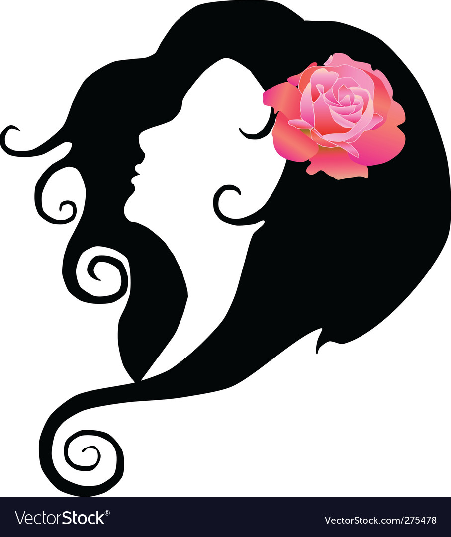 Girl with rose vector | Price: 1 Credit (USD $1)