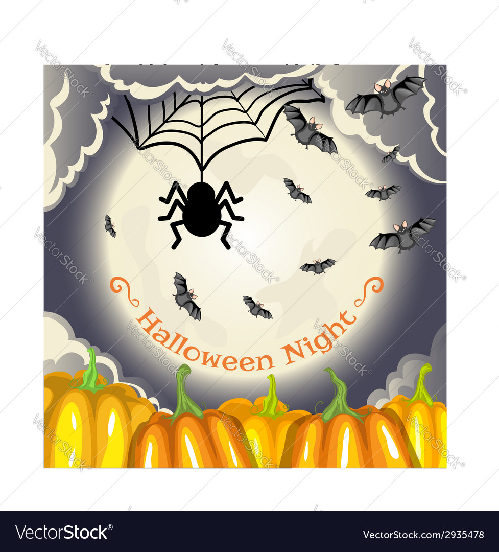 Halloween background with pumpkins moon and bats vector | Price: 1 Credit (USD $1)