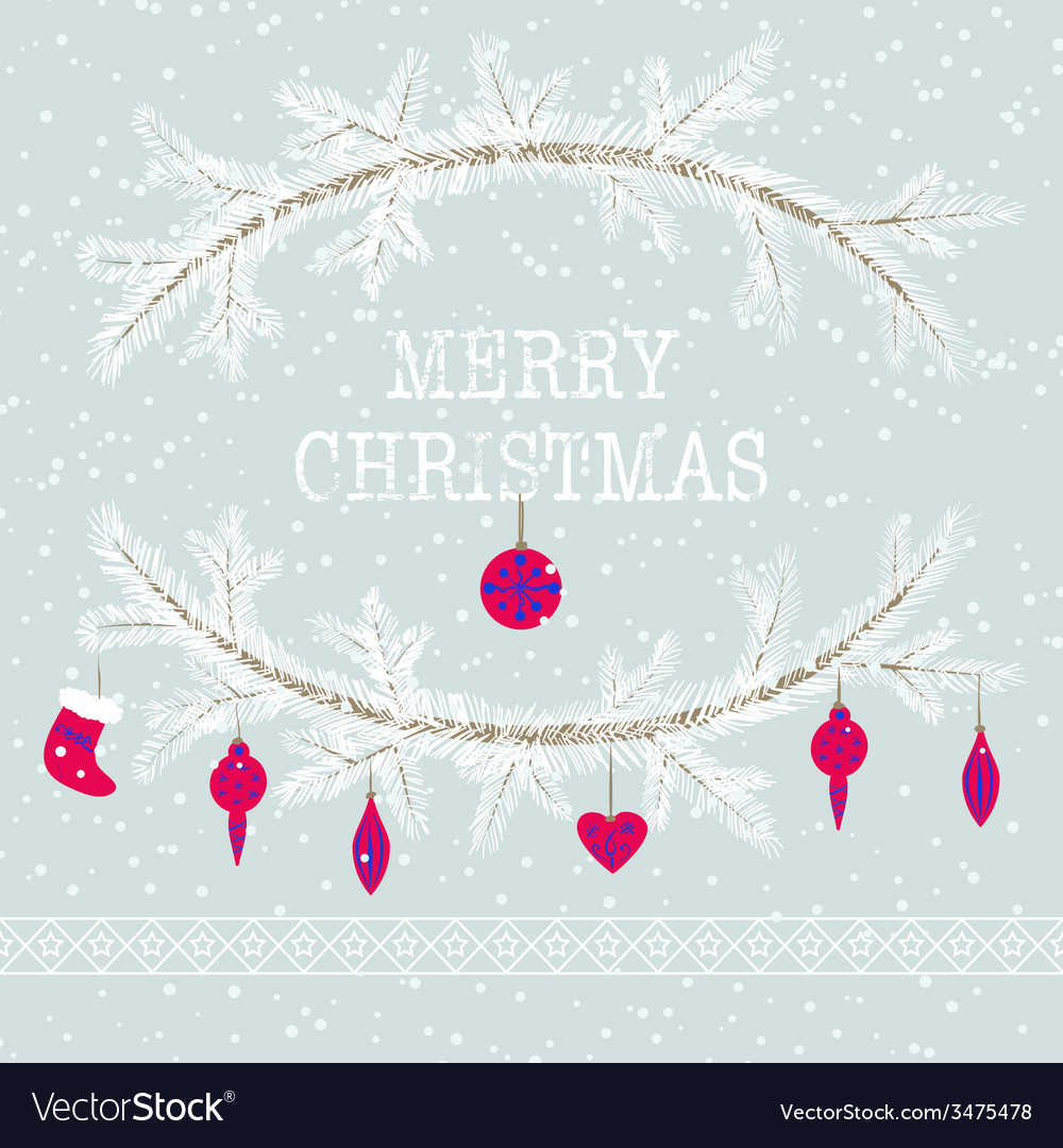 Merry christmas and happy new year greeting card vector | Price: 1 Credit (USD $1)