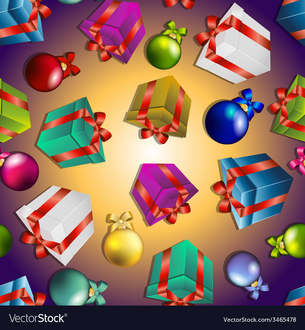 New year pattern with gifts and christmas tree vector | Price: 1 Credit (USD $1)