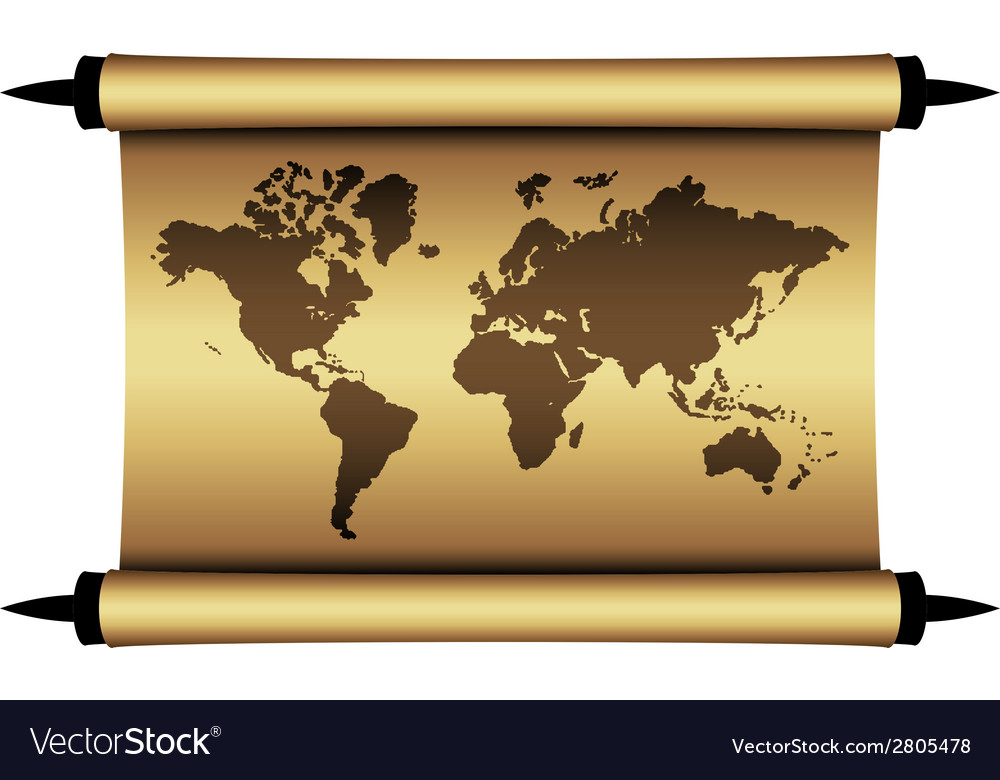 Parchment world map vector | Price: 1 Credit (USD $1)