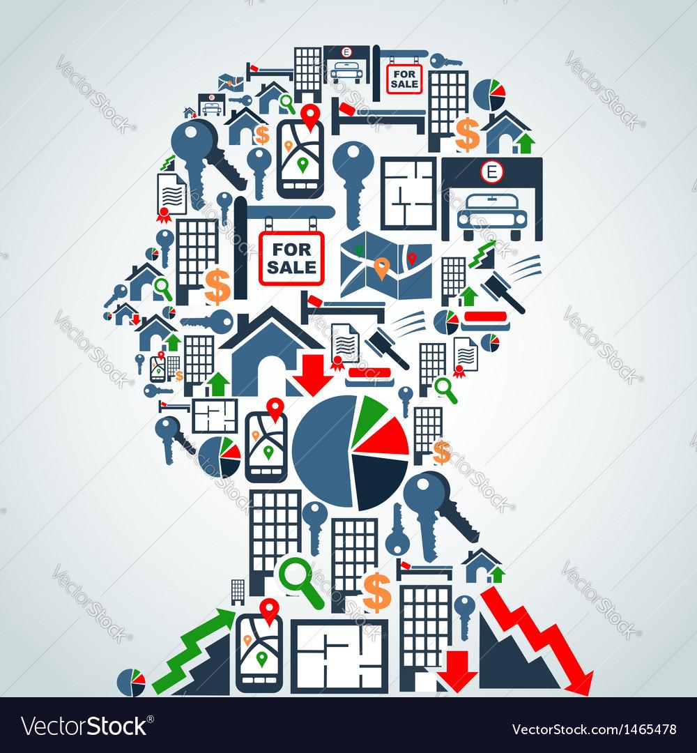 Property market business man head vector | Price: 1 Credit (USD $1)