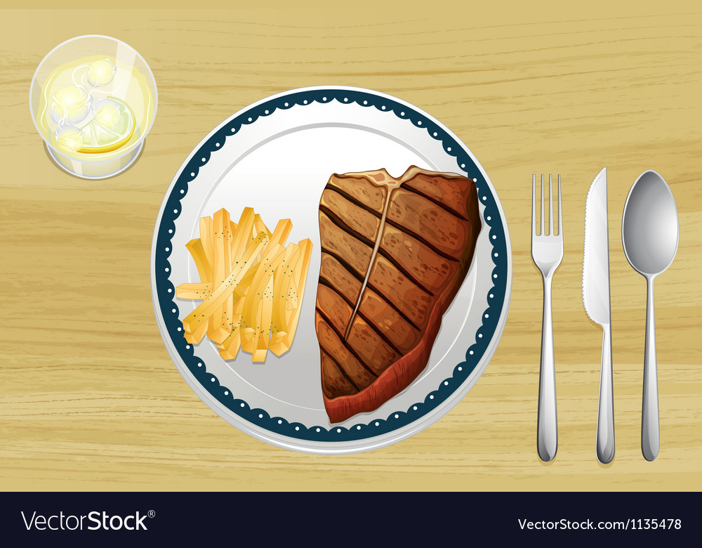 Steak and french fries vector | Price: 1 Credit (USD $1)