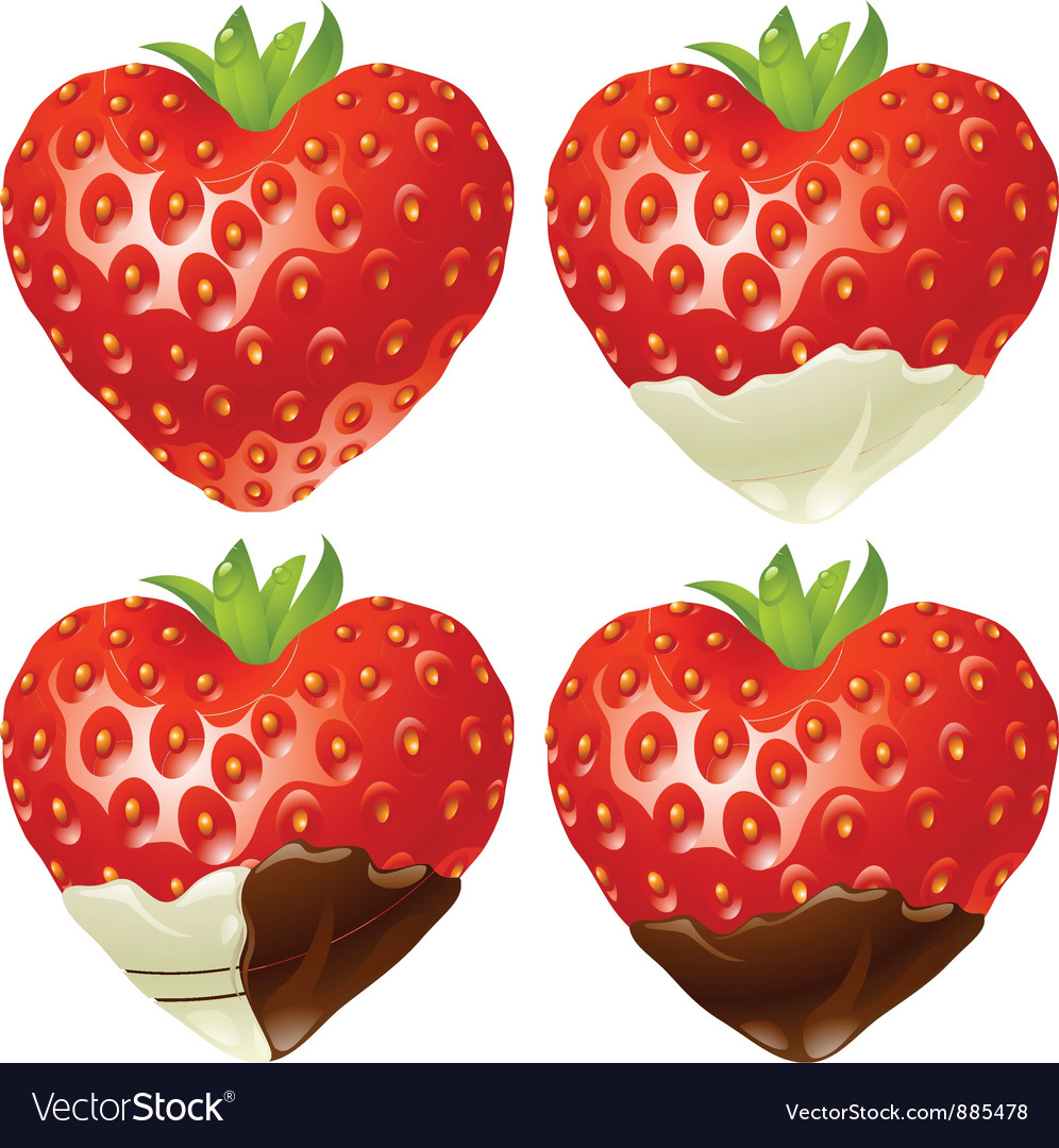 Strawberry in the shape of heart vector | Price: 3 Credit (USD $3)