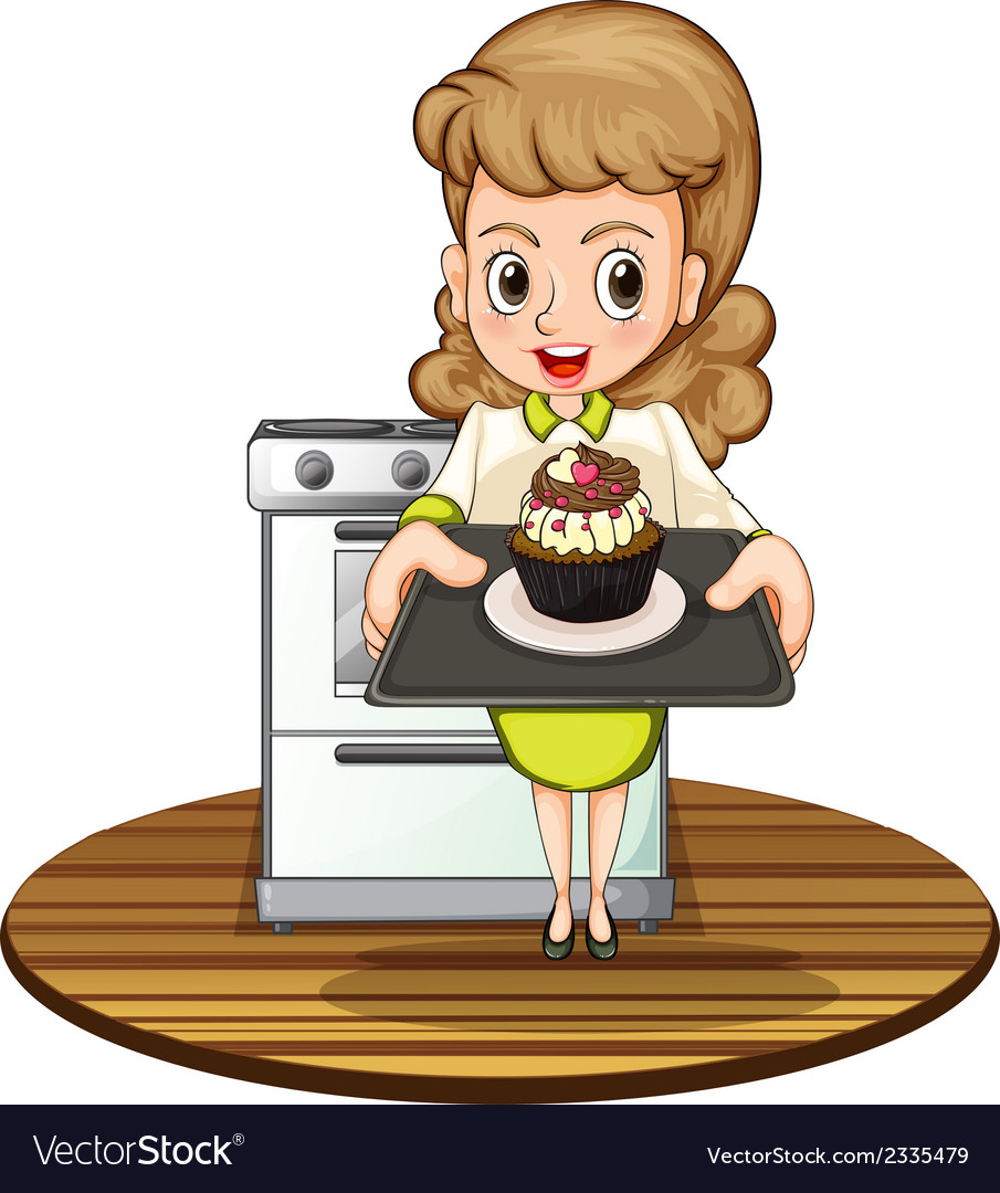A lady baking a cupcake vector
